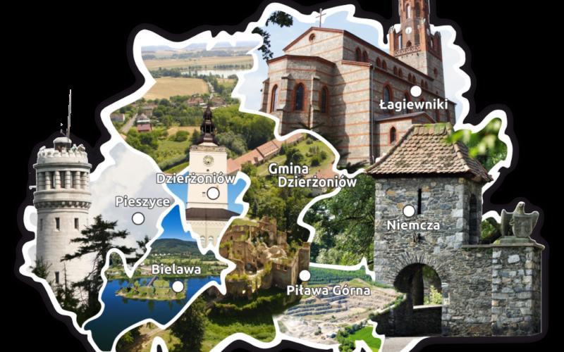 Mapa graficzna powiatu dzierżoniowskiego z granicami gmin. W tle każdej granicy gminy zdjęcie jednej z atrakcji turystycznych.