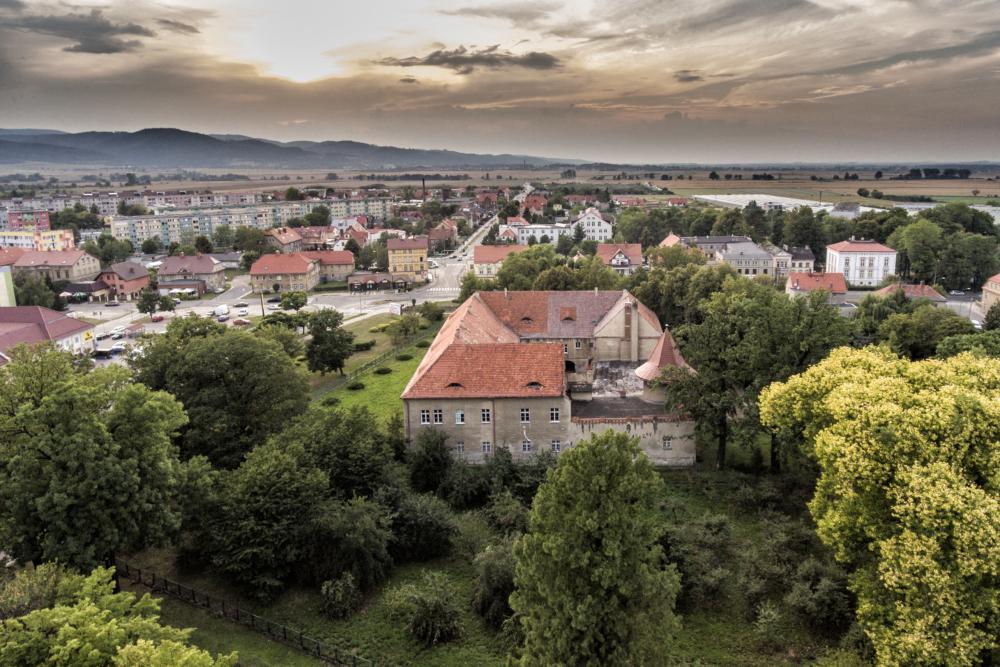 Panorama Bielawy. Na pierwszym planie Pałac Sandreckich. W tle zabudowania miasta.