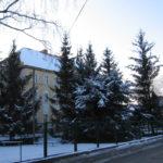 Zdjęcie przedstawia część terenu przyległego do budynku po byłym Zespole Szkół w Pieszycach od strony ul. Mickiewicza w zimowej aurze. Za ogrodzeniem świerki, a w tle budynek Urzędu Miasta i Gminy Pieszyce.
