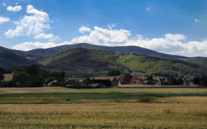 Krajobraz wiejski. Na pierwszym planie pole. W tle góry i błękitne niebo.