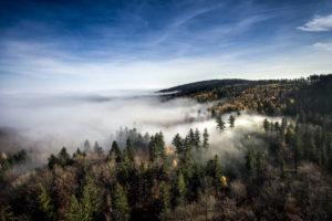 Panorama Gór Sowich widziana z lotu ptaka. Czubki drzew pokrywają chmury. W tle błękitne niebo.