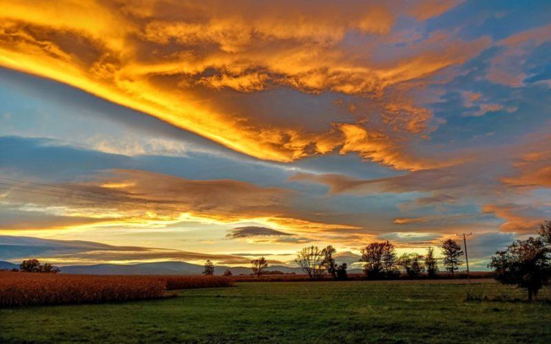 Fotografia autorstwa Anny Rudnikowskiej. Widać niebo w czasie zachodzącego słońca. Poniżej pole i drzewa. Wiejski krajobraz.