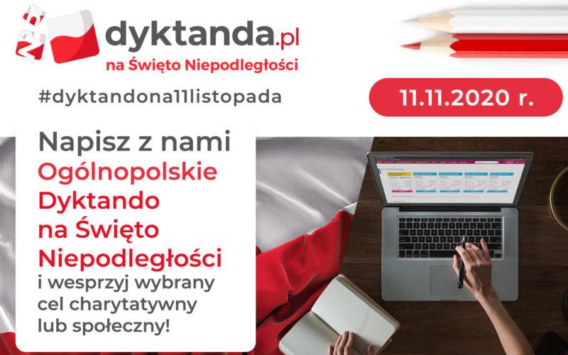 Banner dyktanda.pl. W rogu laptop, książka. Po lewej opis przedsięwzięcia.