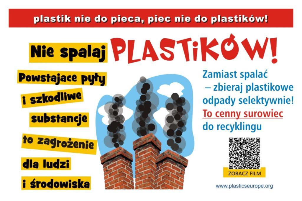 Plakat promujący akcję. Na środku dymiące kominy. Nad nimi i obok napisy informacyjne.