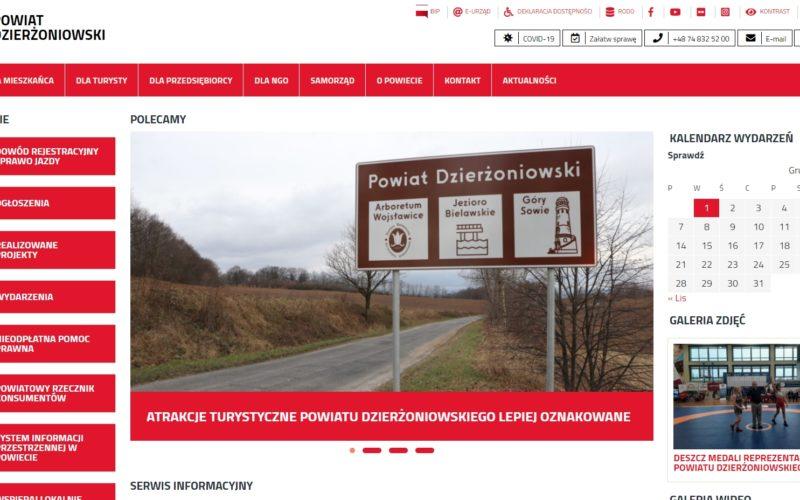 Zdjęcie strony internetowej powiatu dzierżoniowskiego