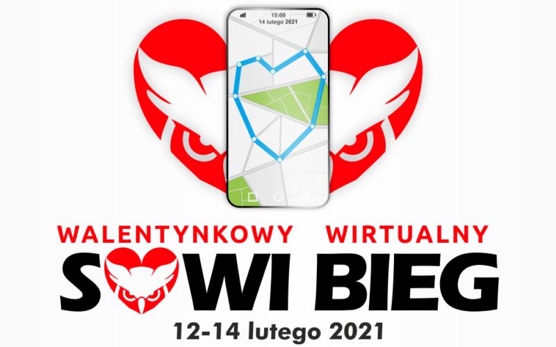 Grafika promująca imprezę. U góry serce w kolorze czerwonym, a w nim głowa sowy i telefon komórkowy z otwartą aplikacją biegową. Poniżej napis z tytułem imprezy i datą wydarzenia.