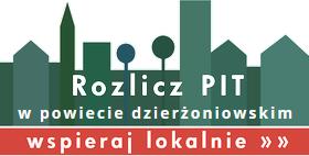 Grafika na białym tle. Graficzna panorama miasta z napisem: Rozlicz PIT w Powiecie Dzierżoniowskim. Wspieraj lokalnie