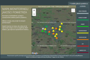 Zdjęcie ekranu komputera, a na nim wyświetlona kolorowa mapa zagrożeń.